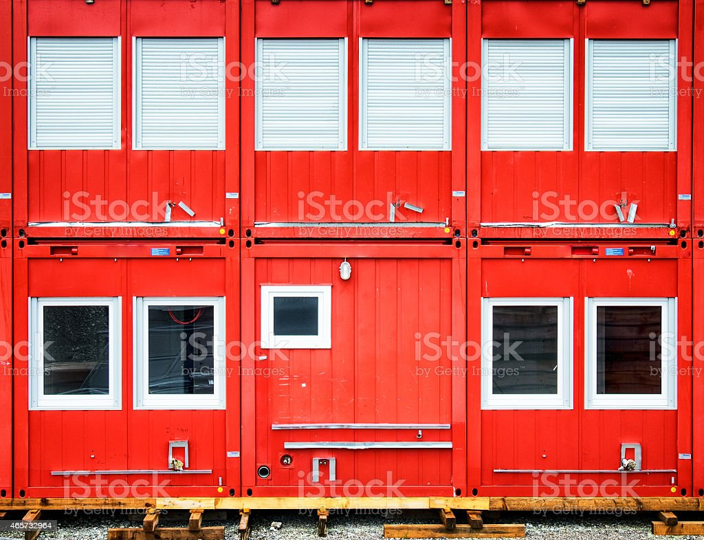 Bright red mobile home container stock photo