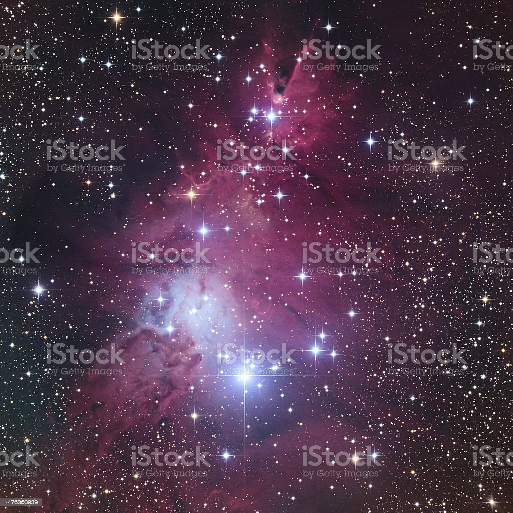 NGC 2264 Bright Red Nebula and Cluster stock photo