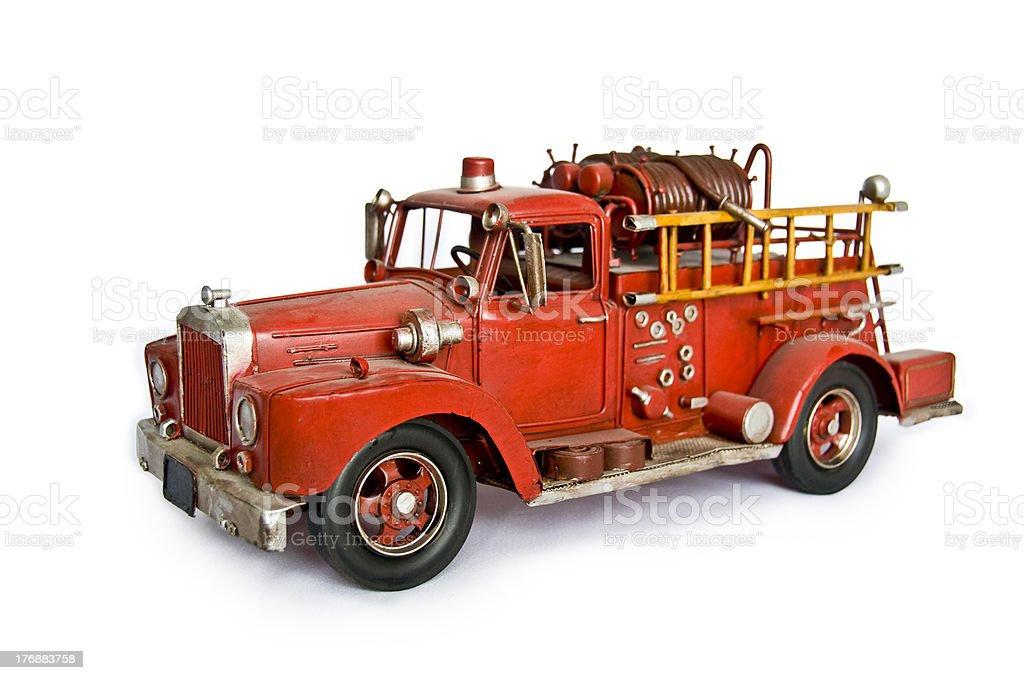Bright Red Old Fire Truck stock photo