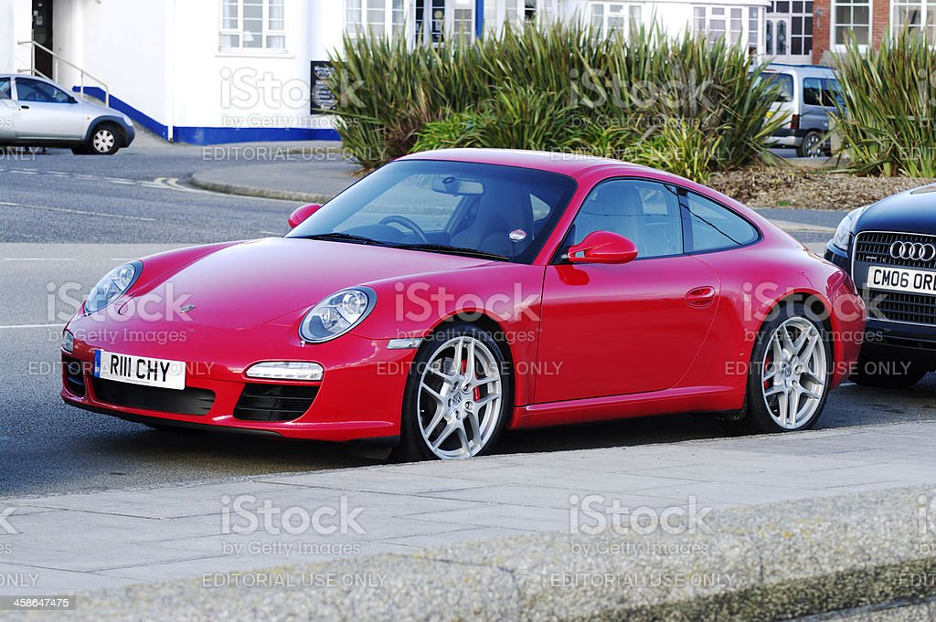 Bright Red Porsche 997 Parked At Kerb stock photo