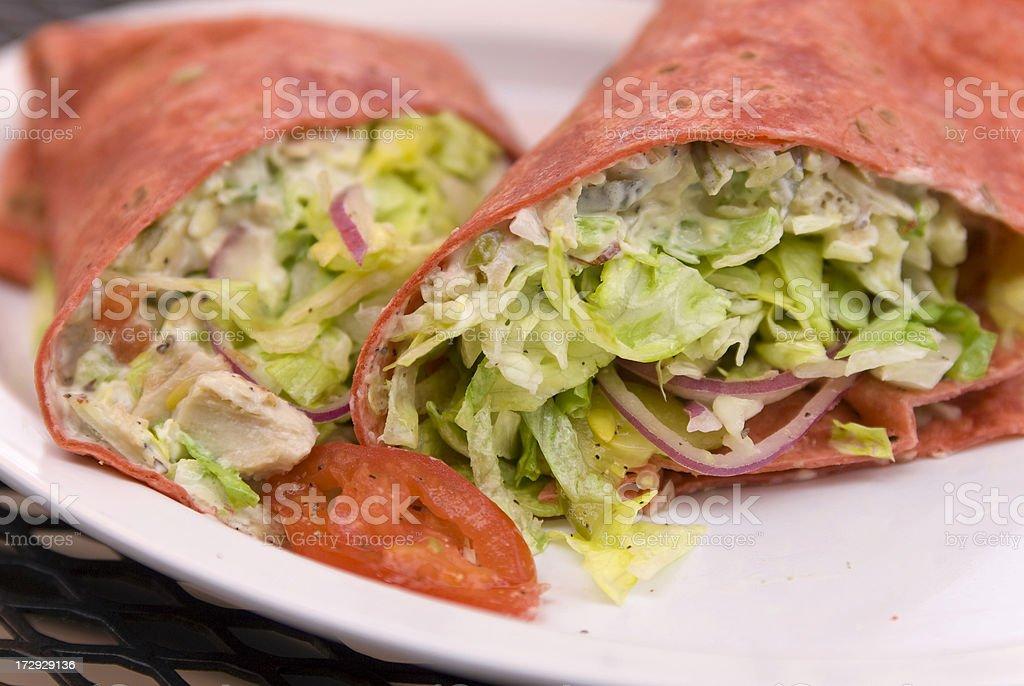 Bright Red Sandwich Chicken Salad Wrap stock photo