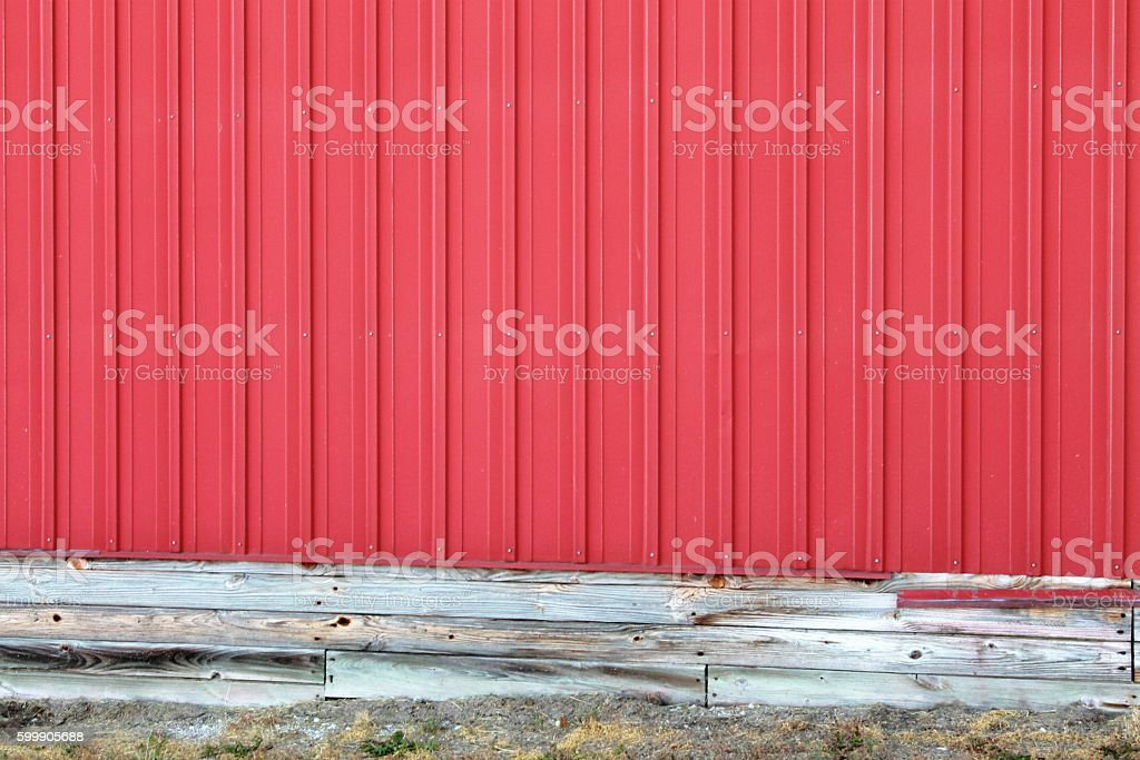 Bright Red Side of a Barn Background stock photo