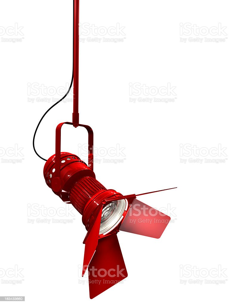 Bright red stage light with white background stock photo