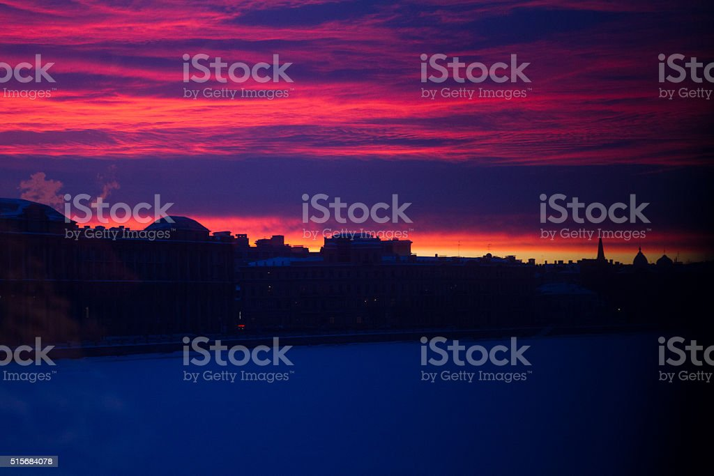 bright red sunset in St. Petersburg stock photo
