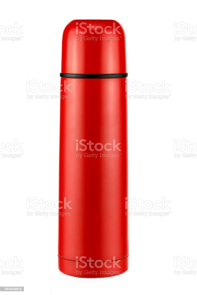 Bright red thermos stock photo