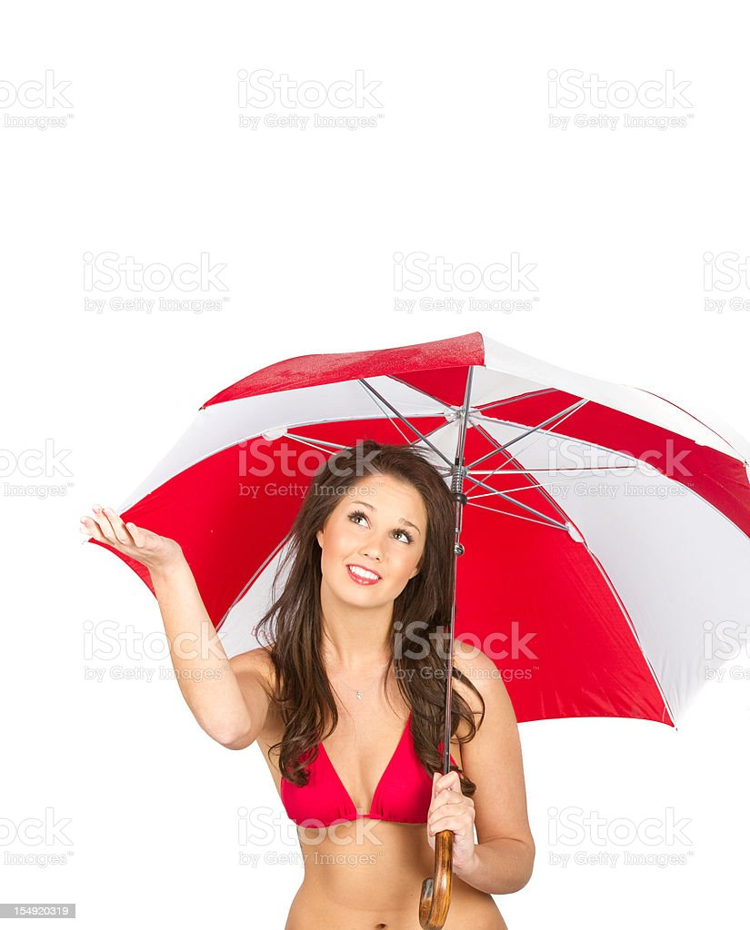 Bright red umbrella and beautiful woman stock photo