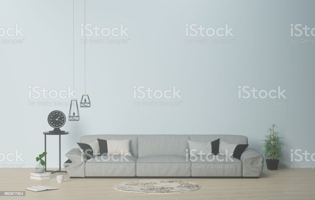 Bright room modern living-room interior with sofa and furniture,table,carpet and lamp,3d rendering stock photo