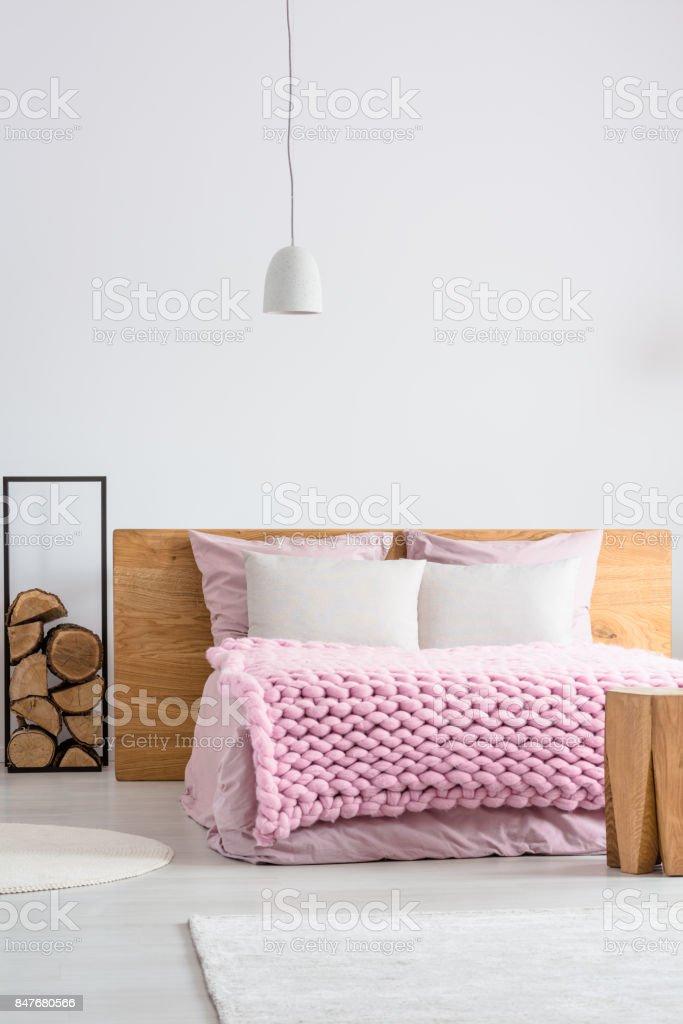 Bright scandinavian bedroom stock photo