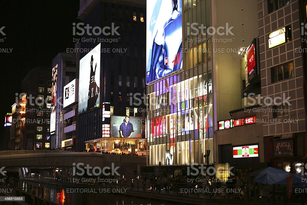 Bright Signs Along Dotonbori Canal in Osaka, Japan at Night stock photo