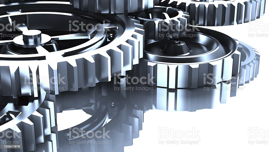 Bright silver machine gears against a white background royalty-free stock photo