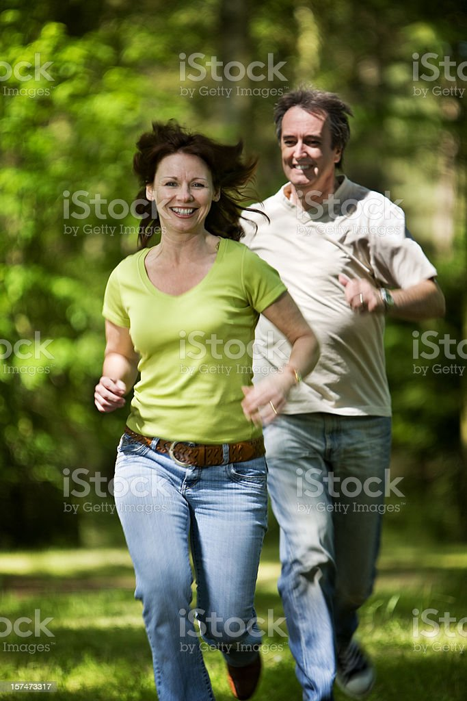 Bright smiles from a mature couple in a carefree mood royalty-free stock photo
