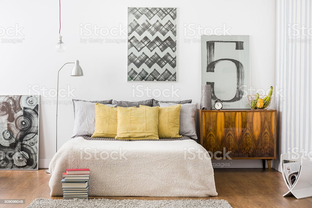Bright snug bedroom interior stock photo