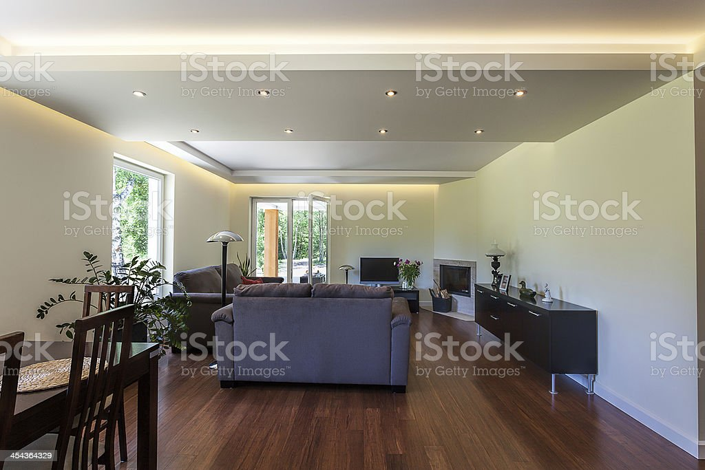 Bright space - downstairs apartment royalty-free stock photo