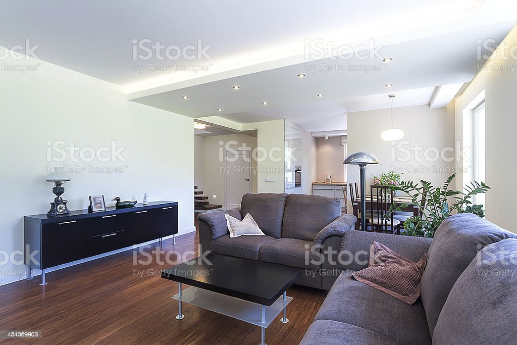 Bright space - living room royalty-free stock photo