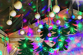 Bright stall with Christmas tree decorations at Christmas Market Vilnius