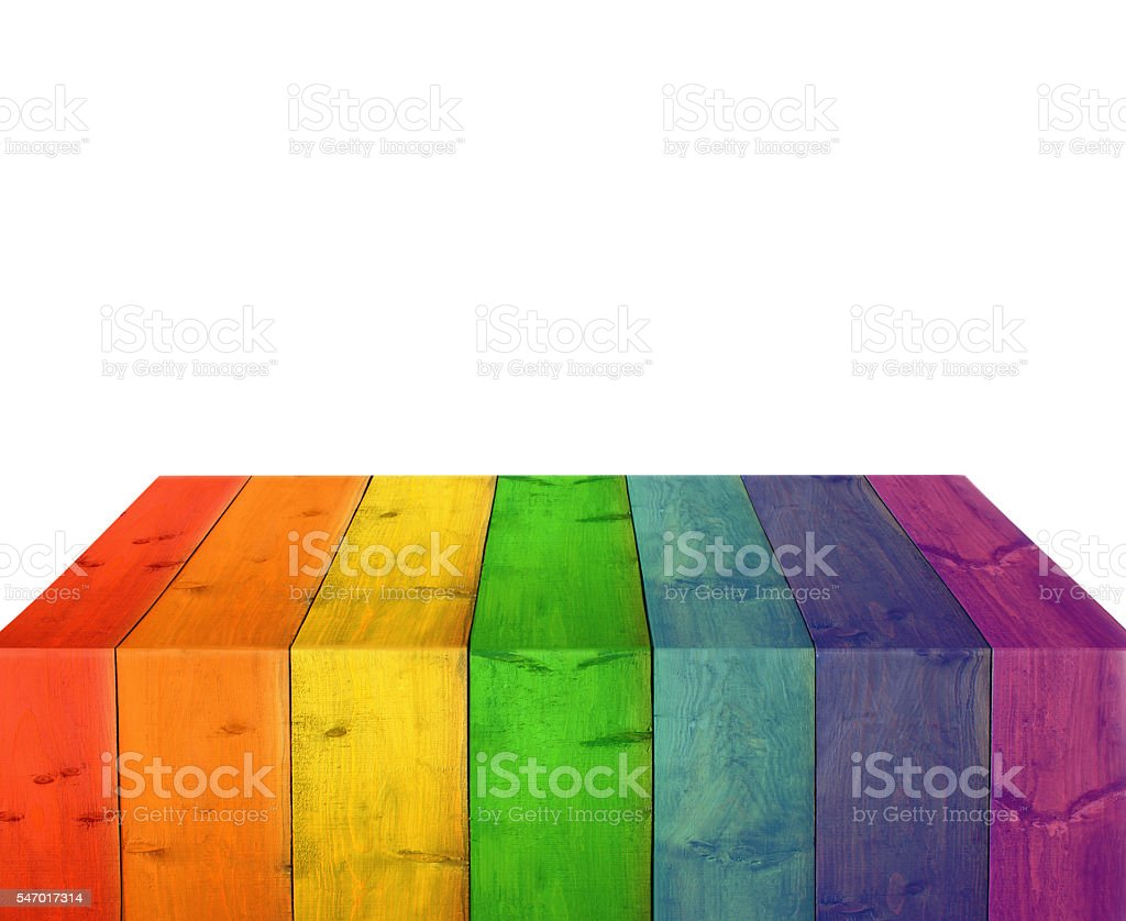 bright stand from wooden boards isolated on the white. stock photo