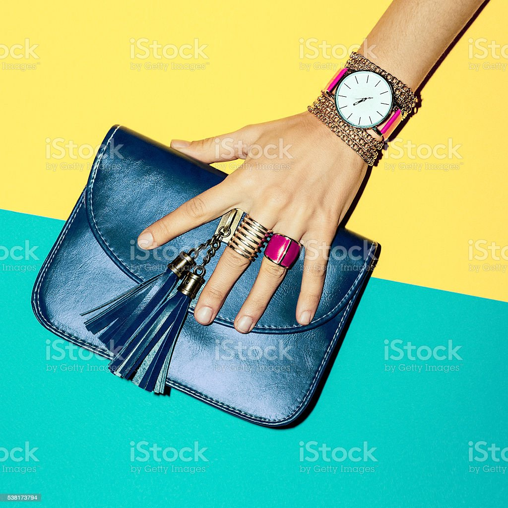 Bright Summer Fashion Accessories Ladies. Stylish clutch and jew stock photo