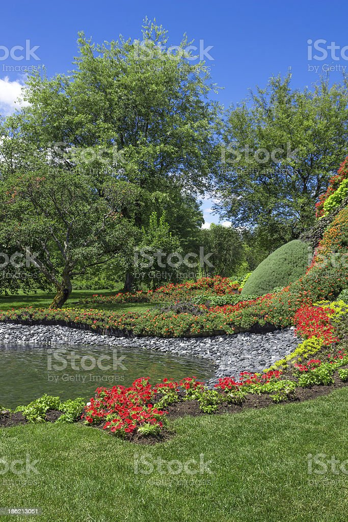 Bright summer garden with pond royalty-free stock photo