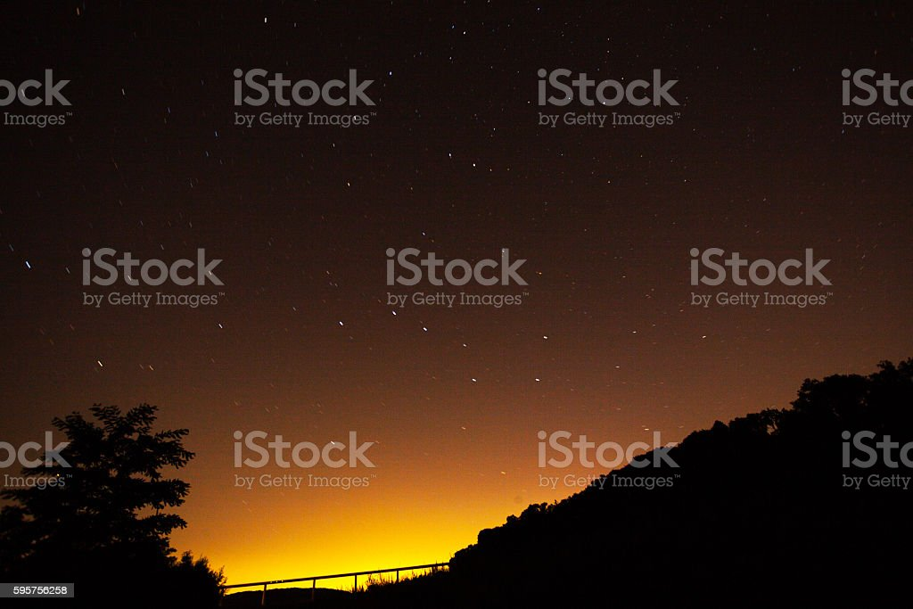 Bright summer night sky over valley Ruhr stock photo