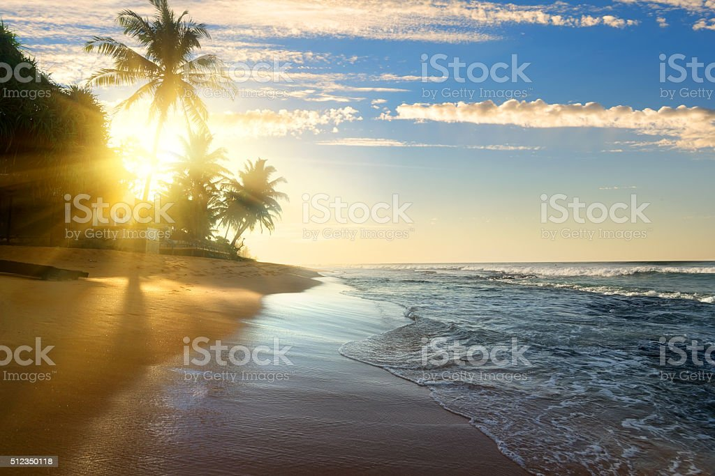 Bright sun and ocean stock photo