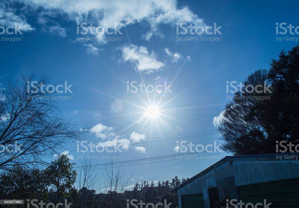 Bright Sun in the sky stock photo