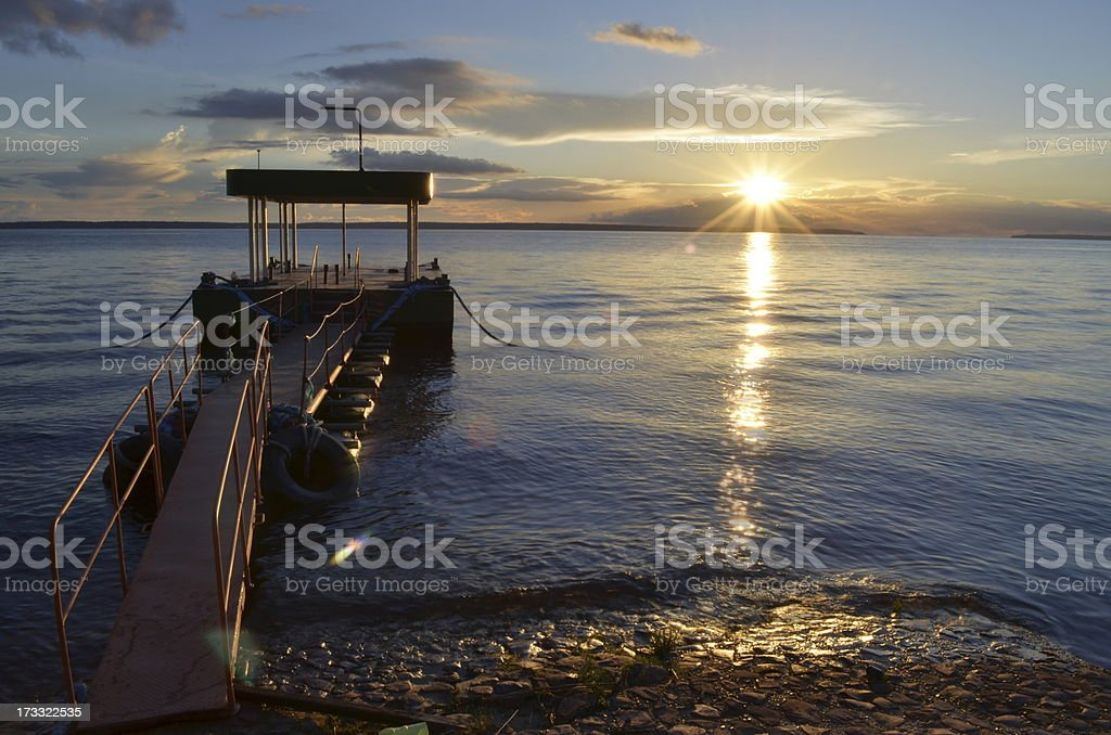 Bright sunset in Amazon Forest and Black River stock photo
