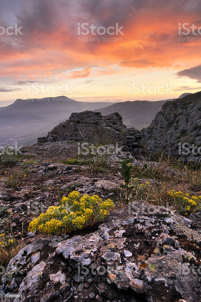 Bright sunset landscape in mountains royalty-free stock photo