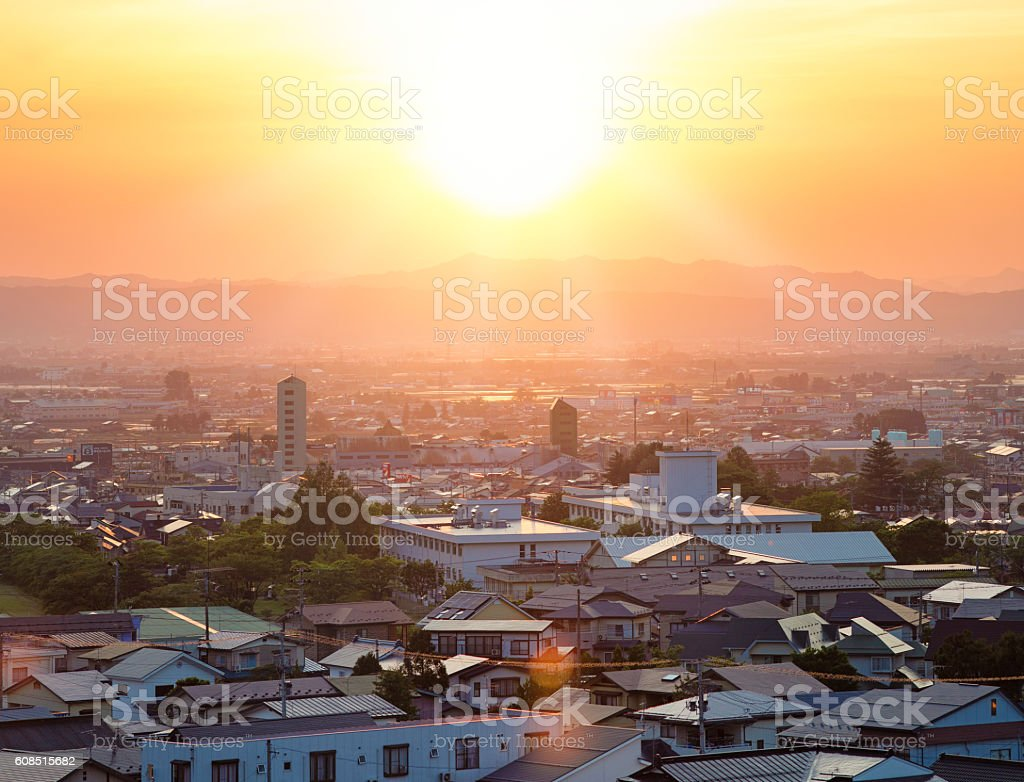 Bright sunset over inland Japanese town stock photo