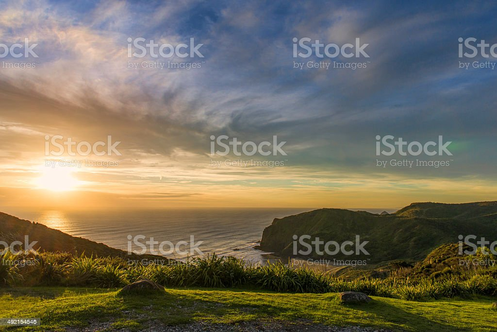 Bright sunset stock photo