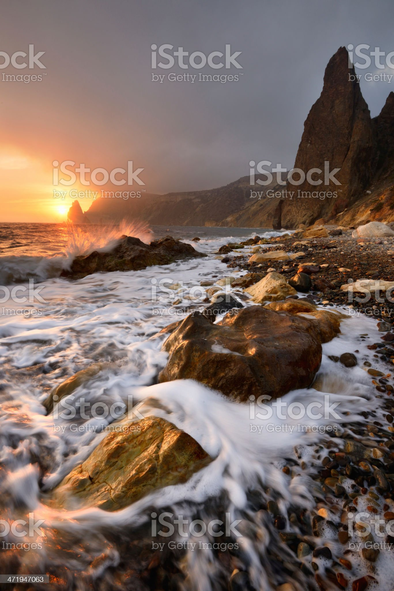 Bright sunset seascape royalty-free stock photo