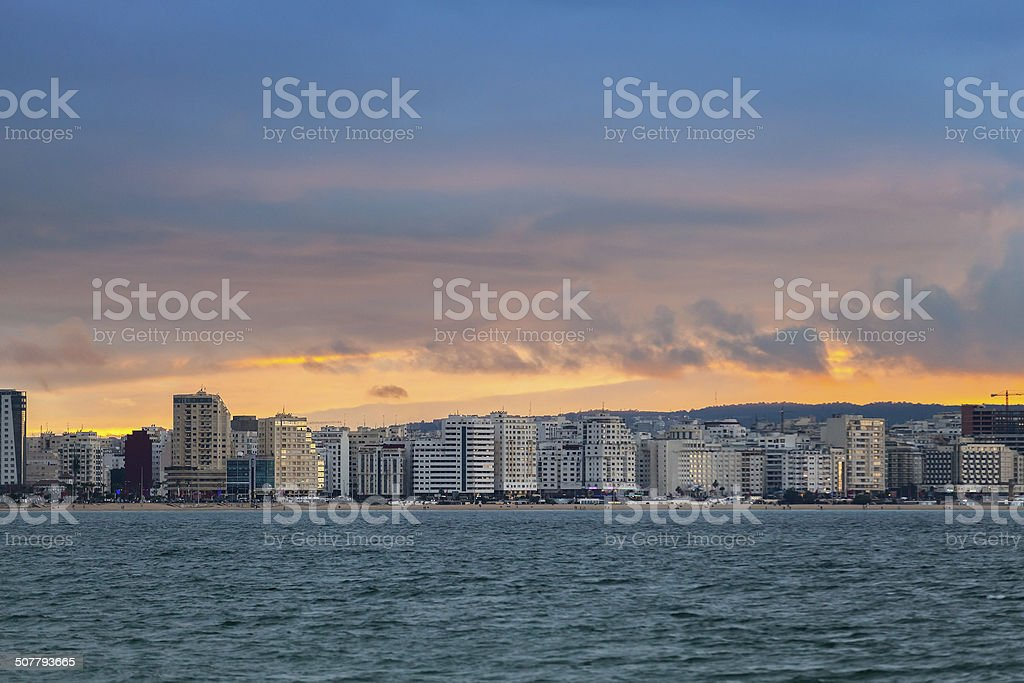 Bright sunset sky above new region of Tangier, Morocco stock photo