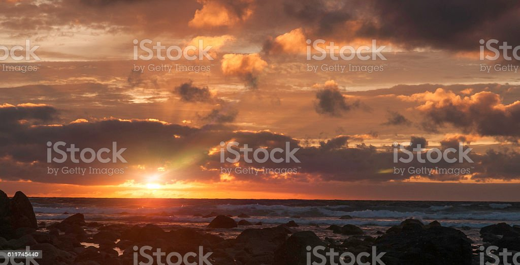 Bright Sunset with flare stock photo