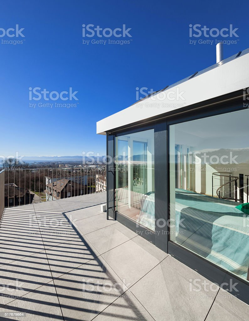 bright terrace of a penthouse stock photo