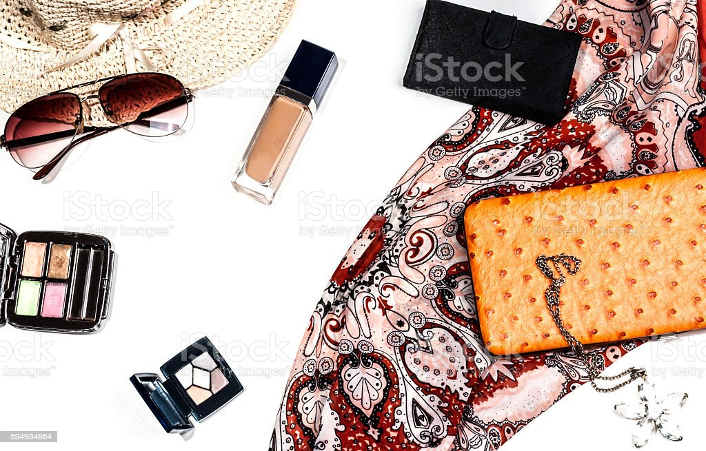 bright trendy accessories for women stock photo
