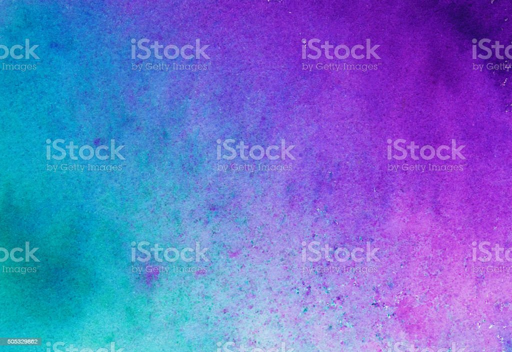 Bright turquoise blue and magenta hand painted background stock photo
