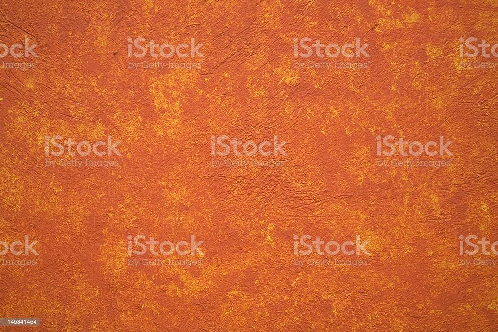 Bright Vibrant Orange Yellow Adobe Wall Mexico stock photo