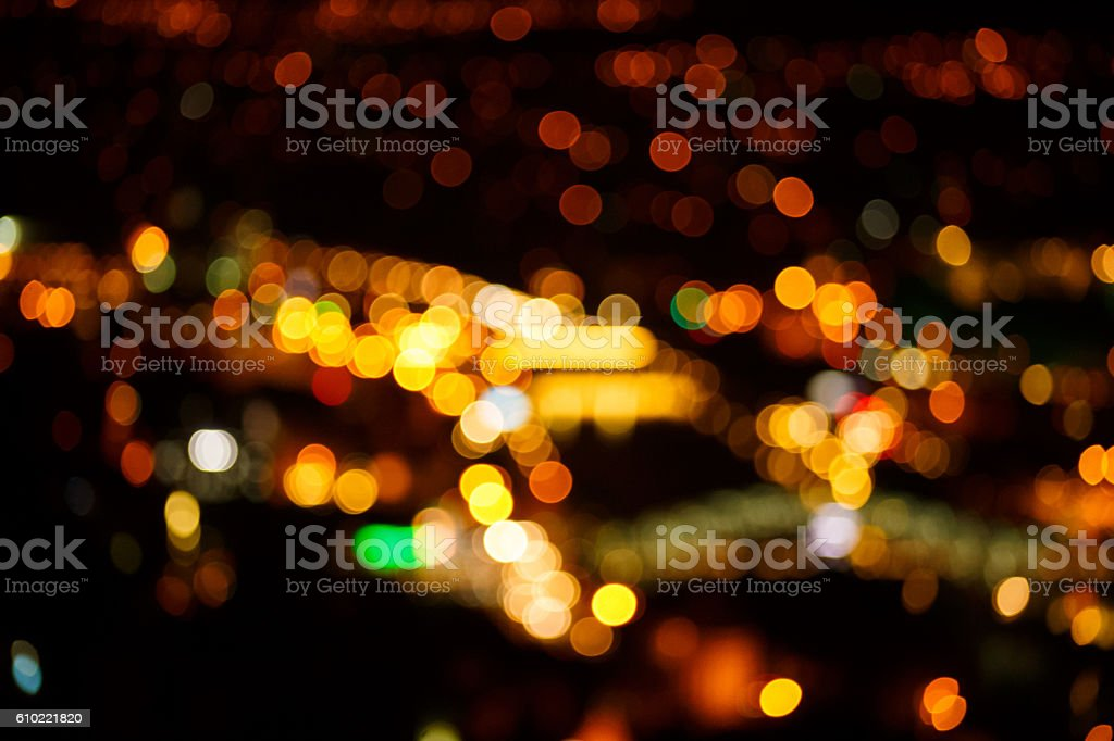 bright warm night lights of big city not in focus stock photo