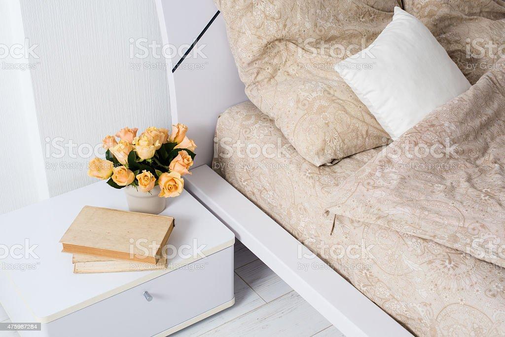 Bright white bedroom stock photo
