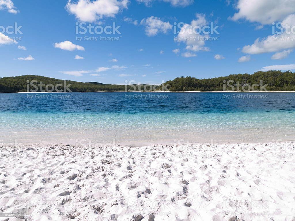 Bright White Sand of Lake McKenzie, Fraser Island stock photo