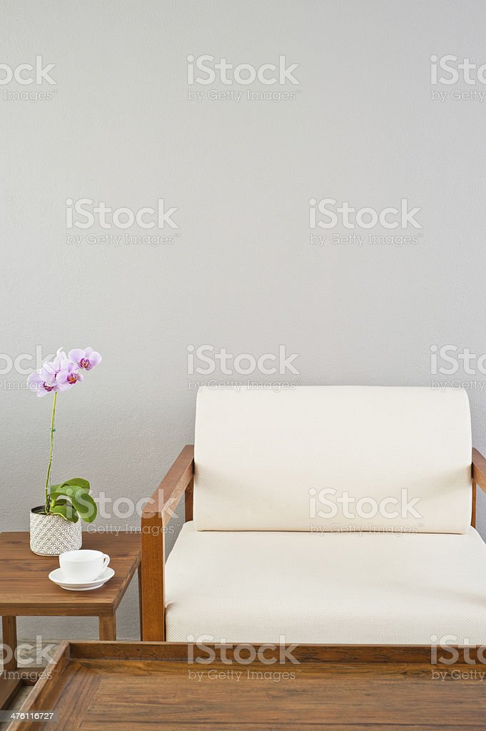 Bright white seater in lounge area royalty-free stock photo