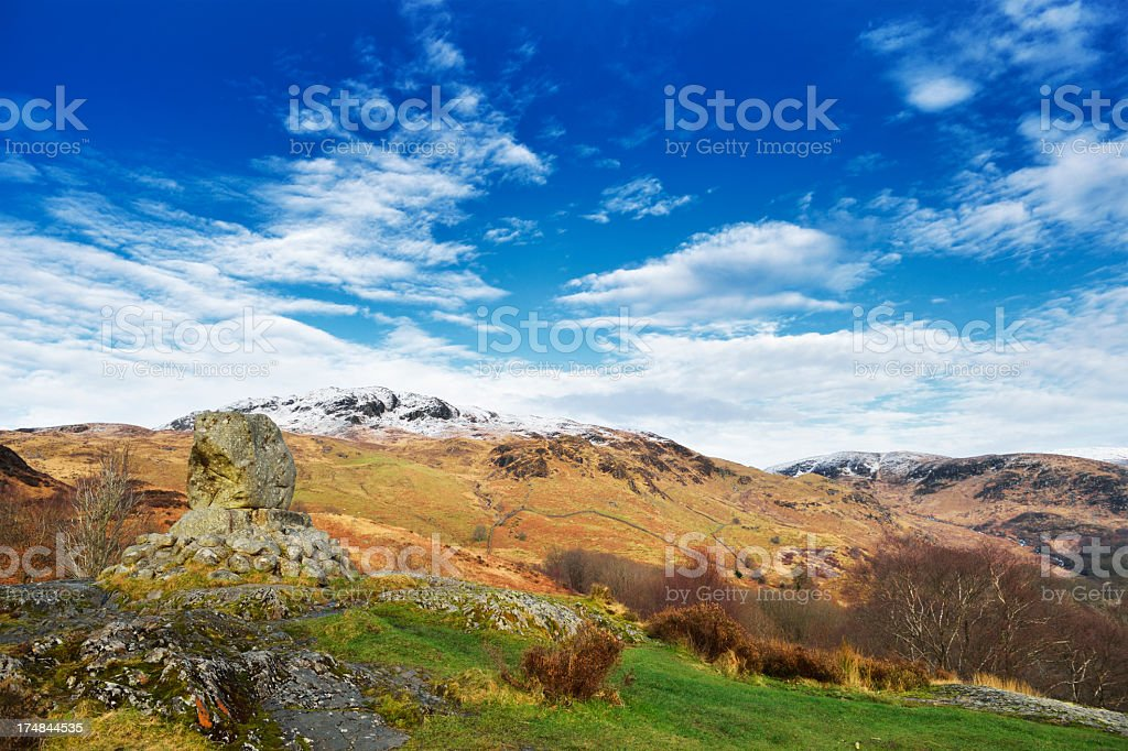 Scottish rural scene with hills and woodland royalty-free stock photo
