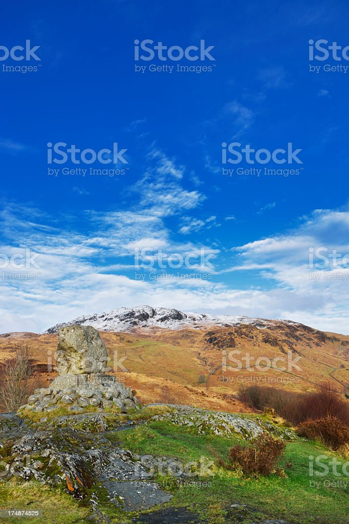 Scottish rural scene with hills and woodland stock photo