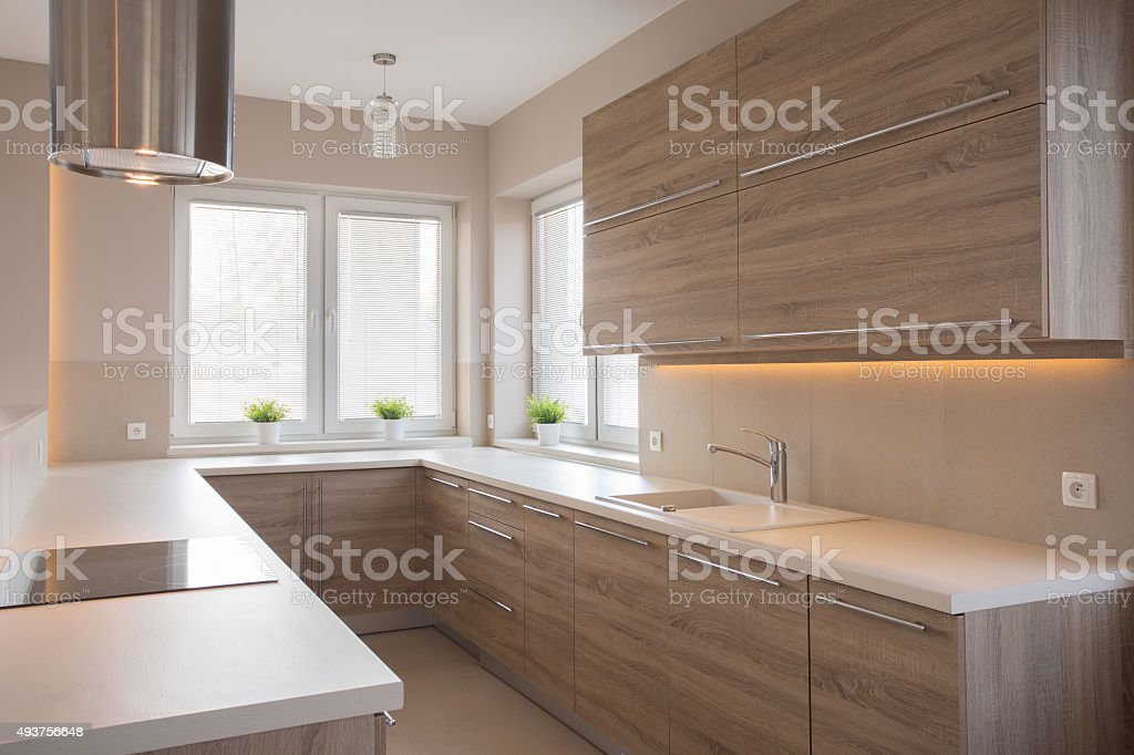Bright wooden kitchen stock photo