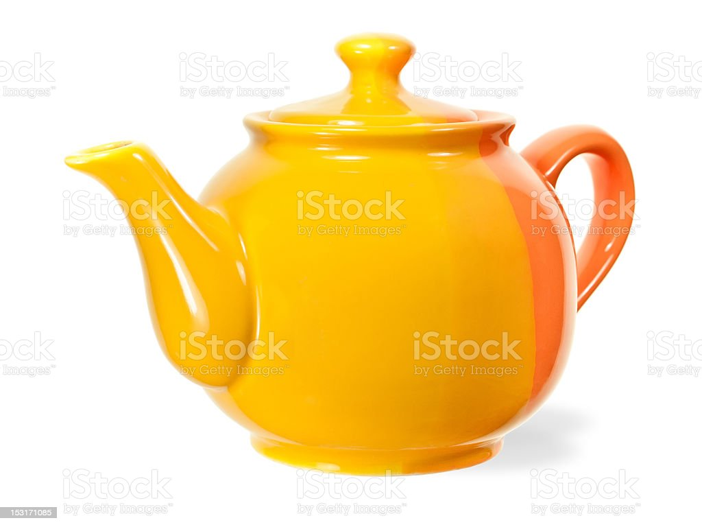 Bright yellow and orange teapot isolated on white stock photo
