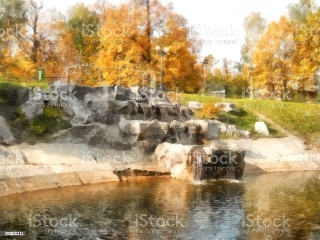Bright yellow autumn park with waterfall. Watercolor vector art illustration