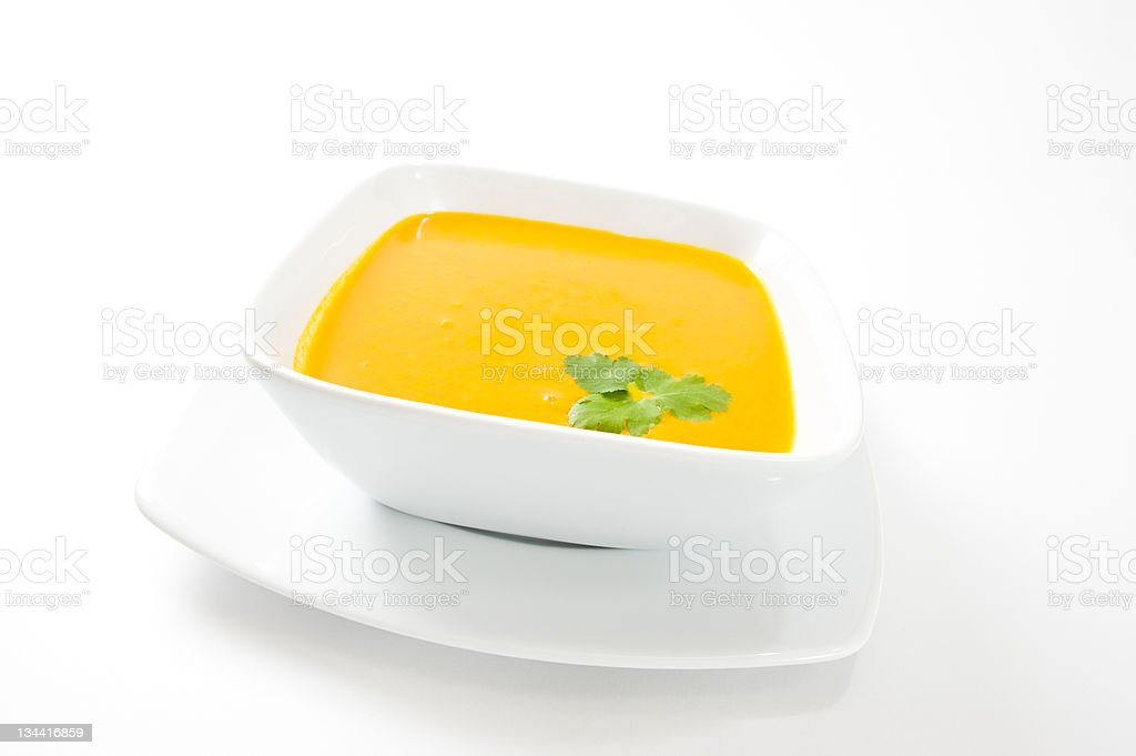 Bright Yellow Squash Pumpkin Soup royalty-free stock photo