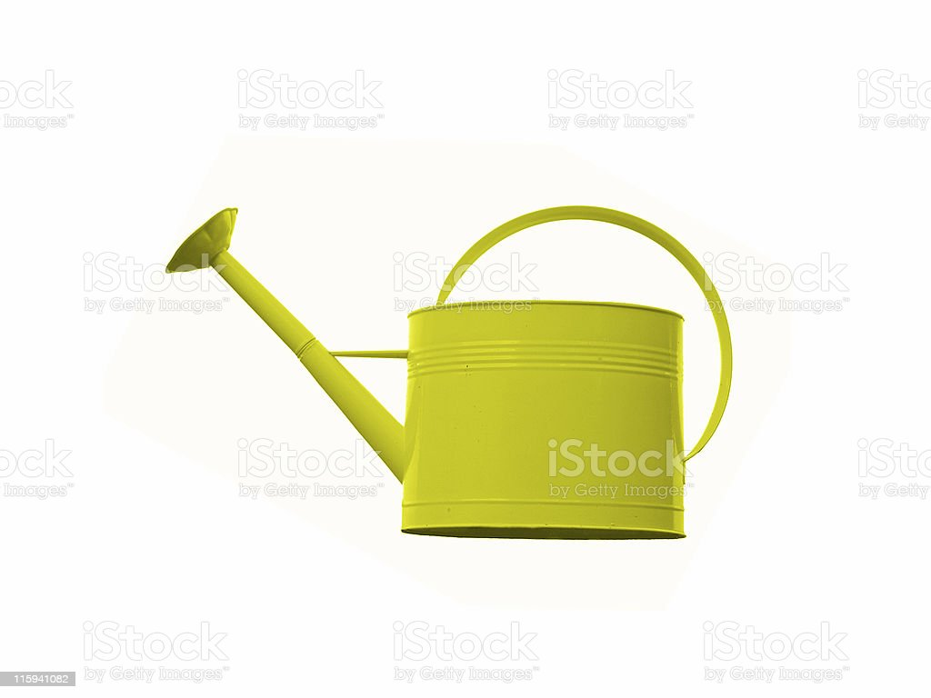 Bright Yellow Watering Can with a mushroom too like tip royalty-free stock photo