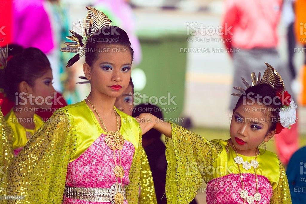 Bright young Malay girls at Hari Raya royalty-free stock photo