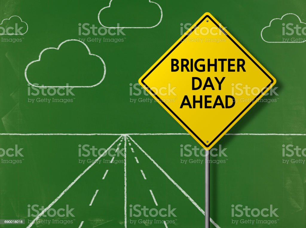 Brighter Day Ahead - Business Chalkboard Background stock photo