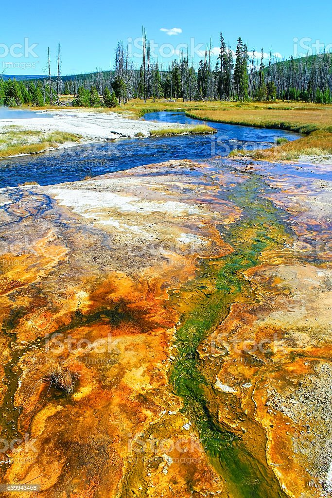 Brightly Colored Geyser Basin stock photo
